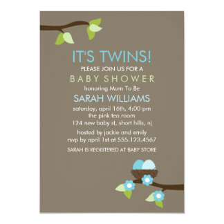 Bird Nest and Blossoms Twin Boys Baby Shower Card