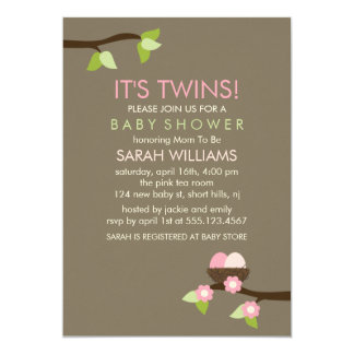 Bird Nest and Blossoms Twin Girls Baby Shower Card