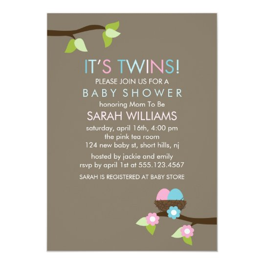 Bird Nest and Blossoms Twins Baby Shower Card