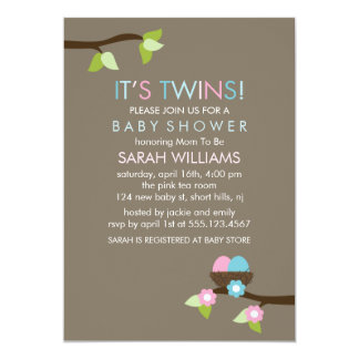 Bird Nest and Blossoms Twins Baby Shower 5x7 Paper Invitation Card
