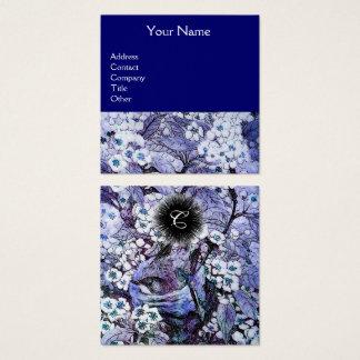 BIRD NEST AND SPRING FLOWERS Monogram Blue White Square Business Card