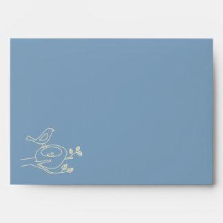 Bird Nest Blue Baby Shower Envelope