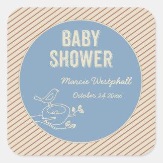 Bird Nest Blue Baby Shower Square Sticker