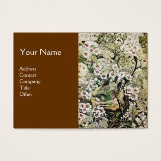 BIRD NEST,BROWN WHITE SPRING FLOWERS MONOGRAM BUSINESS CARD