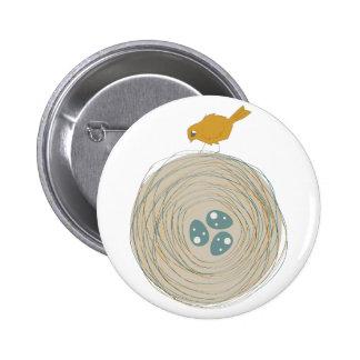 Bird Nest Pinback Buttons