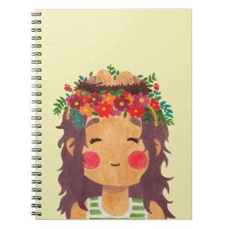 Bird Nest Girl in the Spring Season Notebook