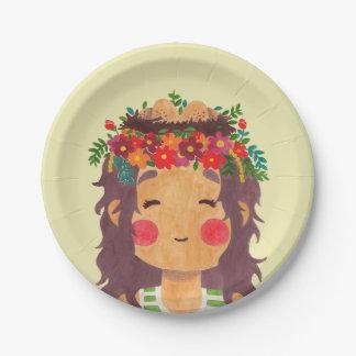Bird Nest Girl in the Spring Season Paper Plate