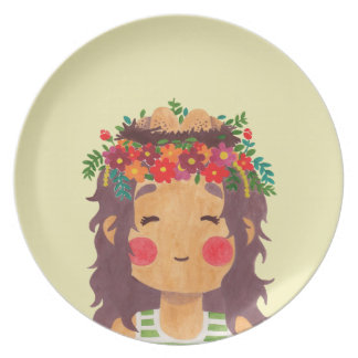 Bird Nest Girl in the Spring Season Party Plate
