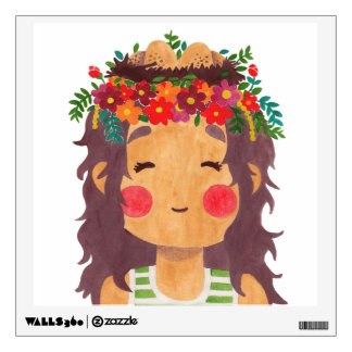 Bird Nest Girl in the Spring Season Wall Sticker