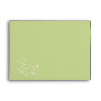 Bird Nest Green Baby Shower Envelope