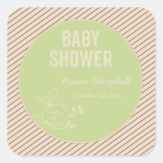 Bird Nest Green Baby Shower Square Sticker