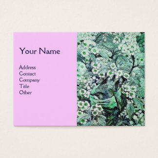 BIRD NEST,monogram ,green white pink Business Card