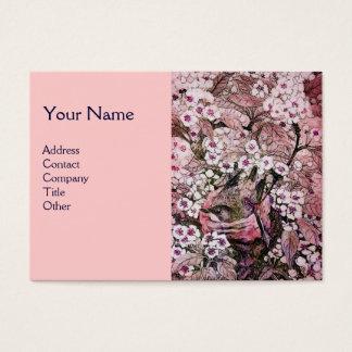 BIRD NEST,monogram ,pink red  white Business Card