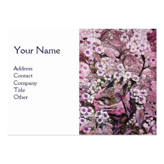 BIRD NEST,monogram ,pink white Large Business Card