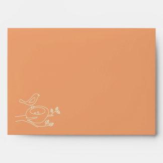 Bird Nest Orange Baby Shower Envelope