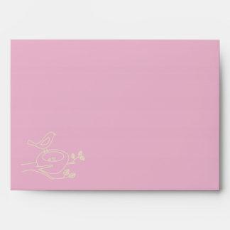 Bird Nest Pink Baby Shower Envelopes
