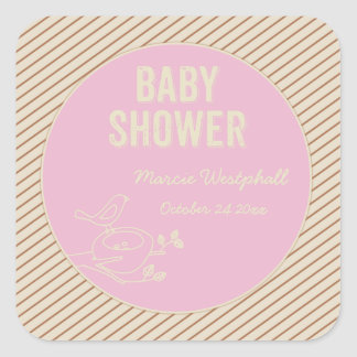 Bird Nest Pink Baby Shower Square Sticker