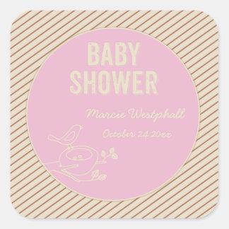 Bird Nest Pink Baby Shower Square Stickers
