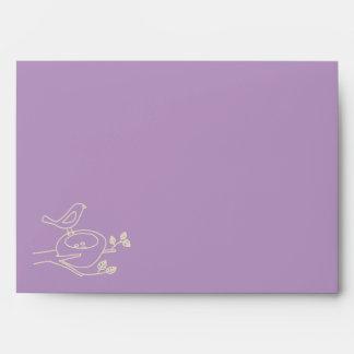 Bird Nest Purple Baby Shower Envelopes