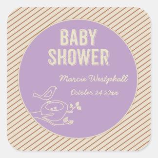 Bird Nest Purple Baby Shower Square Sticker