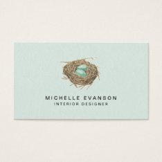 Bird Nest Simple Elegant Mint Professional Business Card at Zazzle