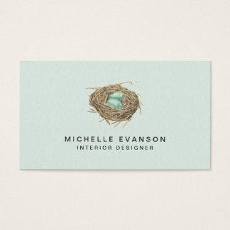 bird nest simple elegant mint business card