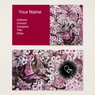 BIRD NEST,SPRING FLOWERS Monogram Pink White Red Business Card
