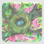 Bird Nest Sticker Robins Eggs Watercolor Blossoms