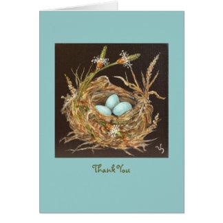 bird nest thank you card