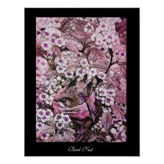 BIRD NEST,TREE PINK WHITE SPRING FLOWERS Black Poster