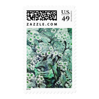 BIRD NEST ,TREE WITH GREEN WHITE SPRING FLOWERS POSTAGE
