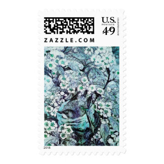 BIRD NEST ,TREE WITH WHITE BLUE SPRING FLOWERS POSTAGE