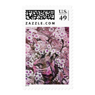 BIRD NEST ,TREE WITH WHITE PINK SPRING FLOWERS POSTAGE
