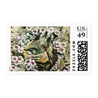 BIRD NEST ,TREE WITH WHITE YELLOW SPRING FLOWERS POSTAGE
