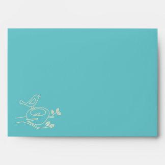 Bird Nest Turquoise Baby Shower Envelopes