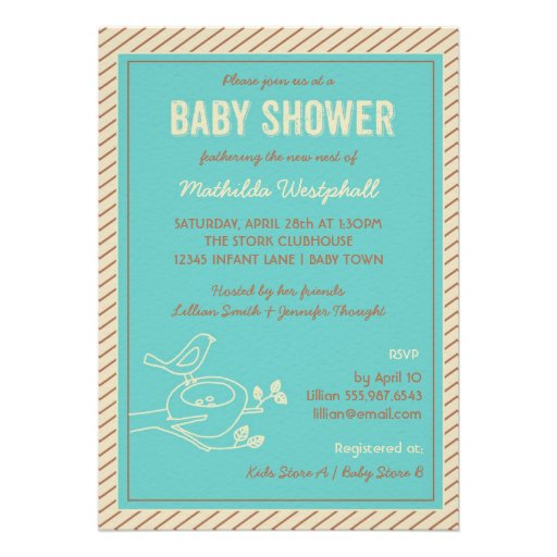 bird nest turquoise baby shower invitation 5 x 7 invitation card