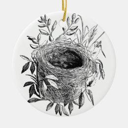 bird nest vintage illustration ceramic ornament