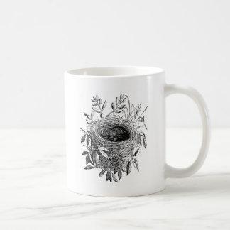 bird nest vintage illustration coffee mug