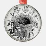 bird nest vintage illustration metal ornament