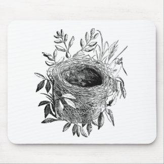 bird nest vintage illustration mouse pad