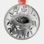 bird nest vintage illustration round metal christmas ornament
