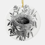 bird nest vintage illustration Double-Sided ceramic round christmas ornament