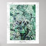 BIRD NEST ,white green Poster