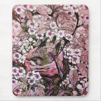 BIRD NEST ,white red pink Mouse Pad