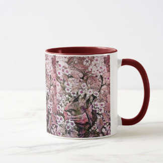 BIRD NEST ,white red pink Mug