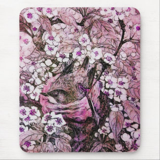 BIRD NEST ,white red pink violet Mouse Pad
