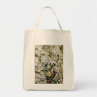 BIRD NEST WITH SPRING FLOWERS White Brown Floral Tote Bag