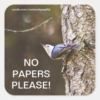 Bird No Papers Please Mail Box Sticker