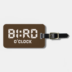 Small Luggage Tag with leather strap with Bird O'Clock design