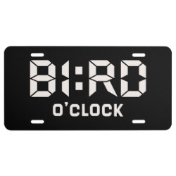 Aluminum License Plate with Bird O'Clock design
